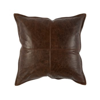 distressed dark brown leather pillow