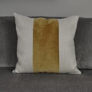 flax linen pillow with honey velvet stripe