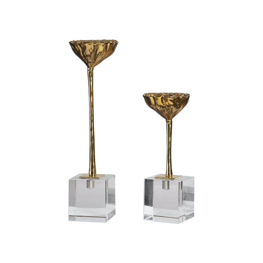 set of gold lotus seed pod decorative sculpture
