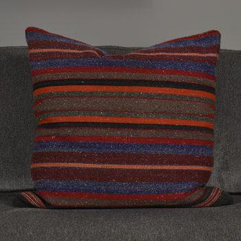 gray red and orange stripe turkish pillow