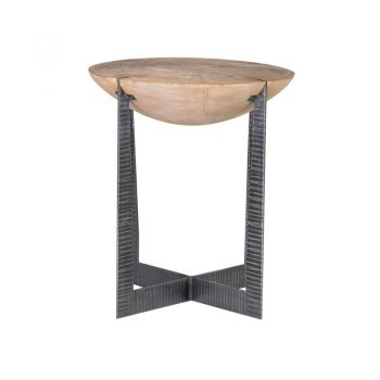 half moon wood side table with hammered metal base