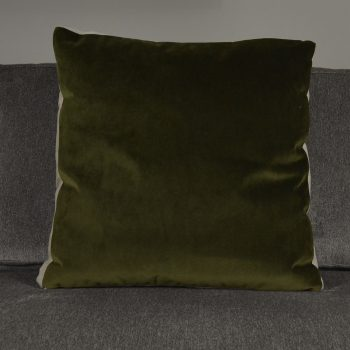 olive green velvet pillow with thick linen square sides