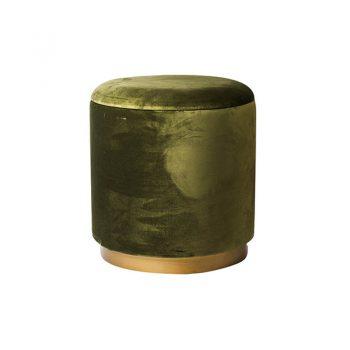 olive green velvet storage ottoman