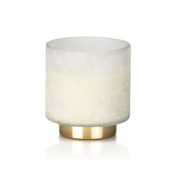tobacco flower scented candle in white glass jar with brass base