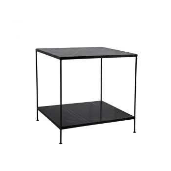 two tier black marble side table with black metal frame