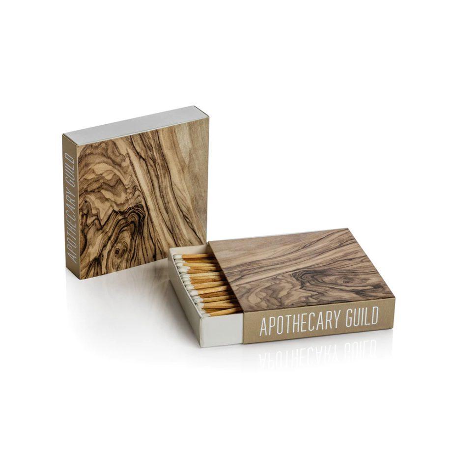 wood grain square box of matches
