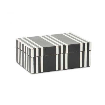 black and white striped wooden decor box