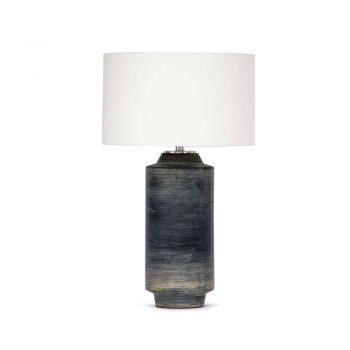 black brushstroke cylinder shaped ceramic table lamp with white shade