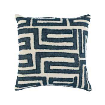 linen pillow with hand-stitched blue geometric pattern with frayed edges