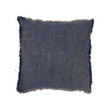 blue linen pillow with fringe