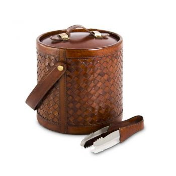 brown basket woven leather ice bucket with tongs