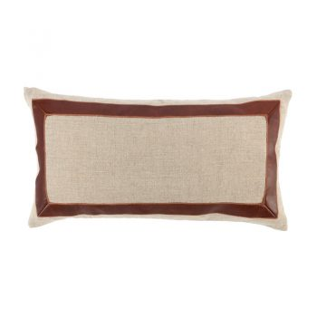 brown leather lumbar pillow with brown leather accent detail