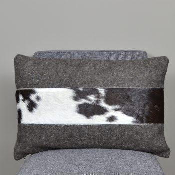 brown wool lumbar pillow with cowhide stripe