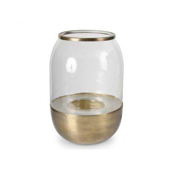 oval glass hurricane on brass base