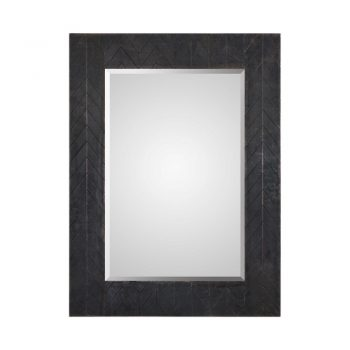 rectangle wall mirror with bronze metal chevron frame